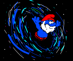 papa smurf emerges from a warp hole
