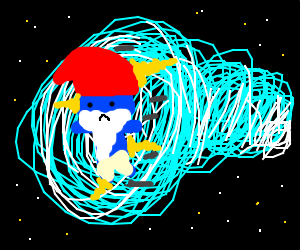 papa smurf coming out of a wormhole