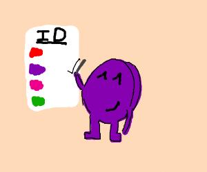 Purple dot checks its slot on an ID sheet.