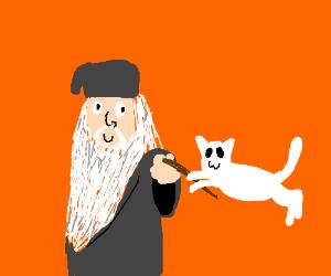 Dumbledore levitates a cat for the lolz.