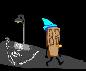 A Ghost Cat follows Dumbledoor(?)