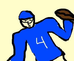 Football player with blue jersey and helmet