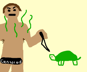 Smelly naked man fights a turtle