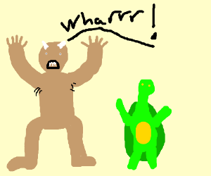 Naked, angry troll threatens to injure turtle
