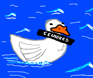 A duck with a censored neck.