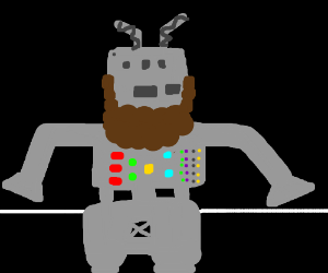This robot grew a magnificent beard!