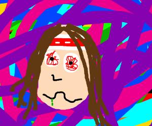 A hippy tripping on acid