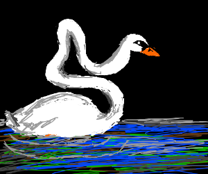A swan has an inappropriate neck