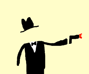 Secret agent invisible man shoots his gun.