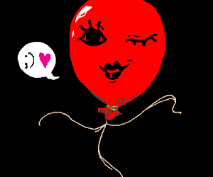 Either seductive or mischievous  red balloon