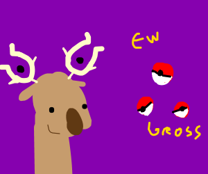 Pokeballs reject a Stantler.
