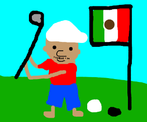A Mexican playing golf in the Gulf of Mexico drawing by ... on cartoon politics mexico, cartoon food mexico, cartoon travel mexico,