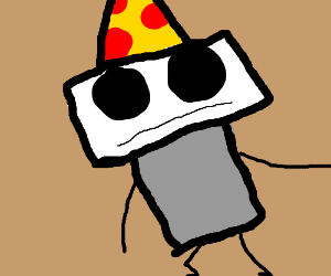 Angry because my hat is pizza