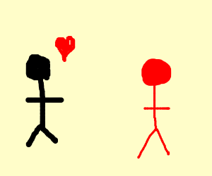 Man in love with red person