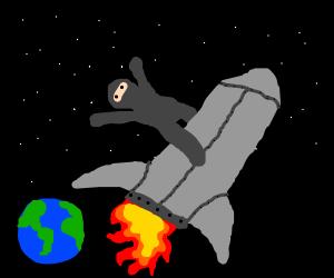 Gray ninja rides a rocket into space