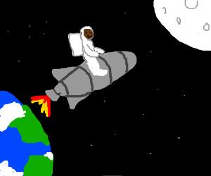 Black astronaut riding rocket into orbit.