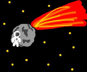 Astronaut flies away with meteor