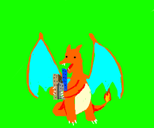 Charizard eating a skyscraper