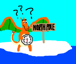 Charizard's compass isn't working.
