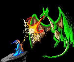 Wizard vs. Dragon : NIGHT FIGHT! - Drawception | 300 x 250 png 61kB