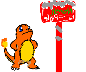 Charamander is confused at North Pole sign