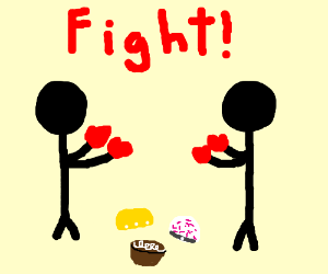 Dudes face off over Hostes cakes.