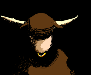 angry bull lurks in the shadows