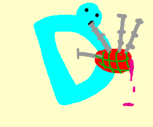 The Drawception D has a head and leaky bagpipe