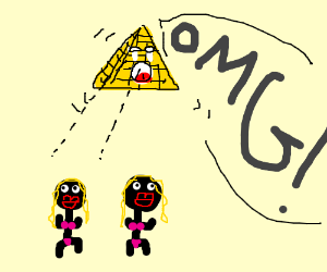 Floating triangle is astonished by two girls