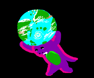 Barney the dinosaur takes the place of Atlas