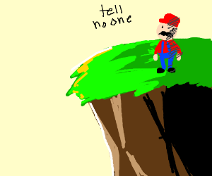 """Red eyed mario on cliff says """"tell no one."""""""