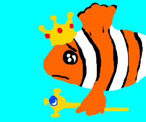 Clownfish with crown and scepter is sad
