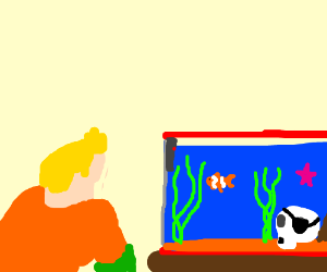 Aquaman is finding nemo in the fishtank