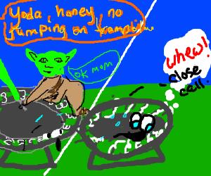 trampoline scared of lightsaber
