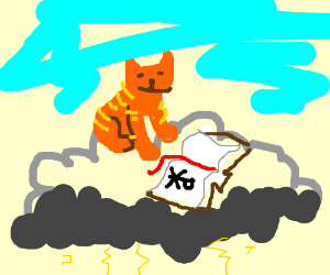 Cat reads bible on top of storm cloud