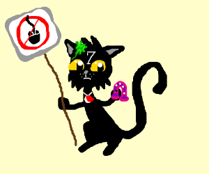 Black cat w/ all superstitions protest PCmouse