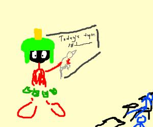 Marvin the Martian teaches class with a bird