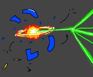 Laser destroys Drawception D