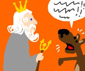 Dog talking nonsense to a Greek God