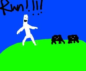 "White man telling 2 black ""creatures"" to RUN"