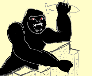 King Kong holds boxed Butt in his hand