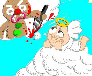 Angel dreams of Gingerbread Man stabbing him