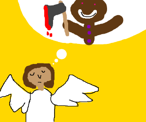 Angel thinks about murderous gingerbread man.