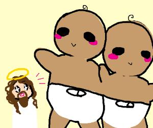jesus is amazed by giant twins