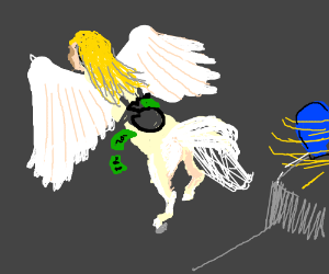 Naked Angel Pegasus robs and flees from police