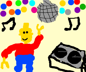 Lego man at disco - Drawception