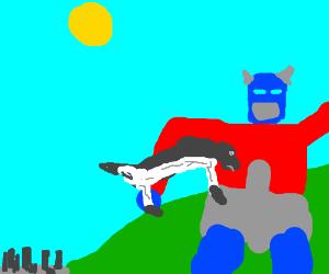 Transformers battle outside city