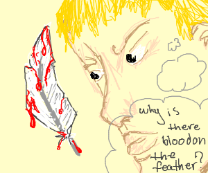 Man finds Blood on Feather
