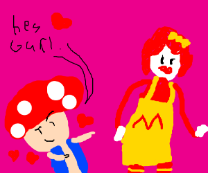 Toad from Mario loves female Ronald McDonald