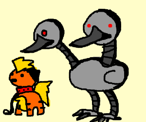 Robot Doduo greets a dog